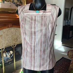 Vintage Poly Square Neck Sleeveless Shell Top
